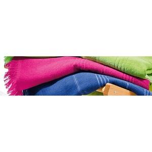 Strandlaken uni mit Querstreifen, 100 x 180 cm in Pink
