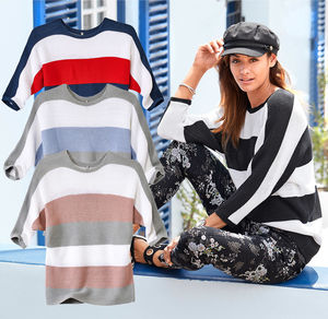 Laura Torelli COLLECTION Damen-Pullover mit breiten Streifen