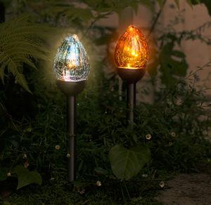 Solarstecker-Glasflamme mit flackerndem Licht, ca. 41cm