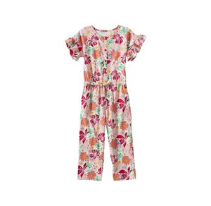 Kids Mädchen-Jumpsuit mit Blumen-Muster