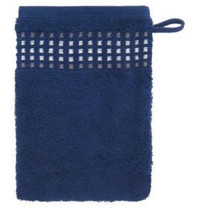 Cawö             Waschhandschuh, 16x23 cm, reine Baumwolle, Kästchenmuster-Applikation
