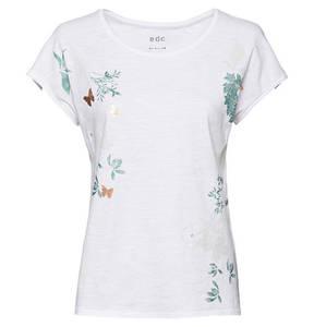 edc             T-Shirt, floraler Print, Flammgarn, Metallic-Details