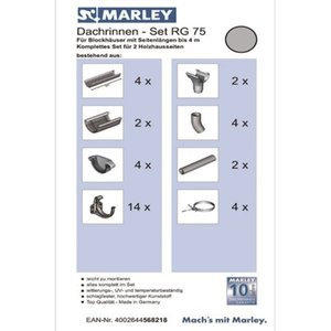Marley Dachrinnen-Set RG 75 für Blockhäuser mit Länge bis 4 m Grau