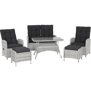 Siena Garden Esstisch-Lounge-Gruppe Corona Gardino-Geflecht Eisgrau 6-tlg.
