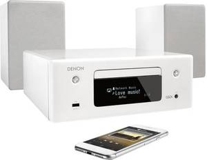 Denon CEOL N-10 Stereoanlage Air-Play, AUX, Bluetooth®, CD, LAN, USB, UKW, WLAN, Freisprechfunktion, Multiroom-fähig 2 x