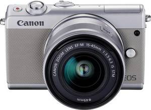 Systemkamera Canon EOS M100 15-45 MM Kit EF-M 15-45 mm IS STM 24.2 Mio. Pixel Grau WiFi, Bluetooth, Klappbares Display,