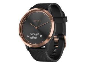GARMIN vivomove HR Sport schwarz/rosegold mit schwarzem Silikonarmband S/M modische Hybrid-Smartwatch mit Touchscreen