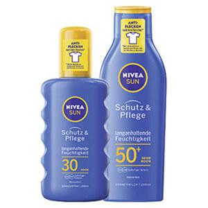 Nivea Sun Schutz+Pflege Milch LSF 50+ oder Spray LSF 30 jede-200ml-Flache