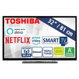 "32""-FullHD-LED-TV 32L3863DA · HbbTV · 3 HDMI-/2 USB-Anschlüsse/CI+ · Stand-by: 0,5 Watt, Betrieb: 31 Watt · Maße: H 43,7 x B 73,5 x T 9,0 cm · Energie-Effizienz A+ (Spektrum A++ bis E)"