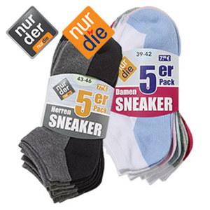 Damen- oder Herren-Sneakersocken perfekt in Sport-und Freizeitschuhen, Größe: 35/38 - 43/46, 5er-Pack, je
