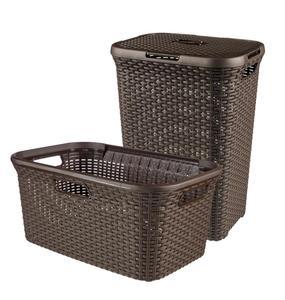 Curver 2-er Set STYLE Wäschebox 60L + Wäschekorb 45L dunkelbraun