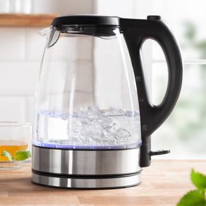 Powertec Kitchen LED-Glas-Wasserkocher 2.200 Watt, Schwarz