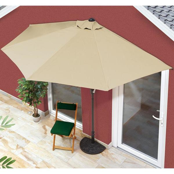 EASYmaxx Sonnenschirm halbrund 270x140cm beige UV-Schutz