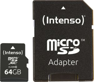 Intenso Micro SD Card 64GB Class 10 SDXC inkl. SD Adapter