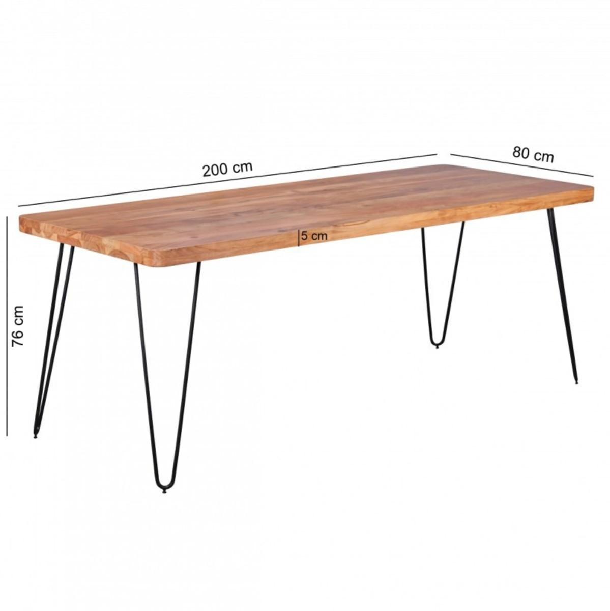 Bild 2 von Wohnling Massivholz Akazie Esstisch 200 x 80 x 76 cm Küchentisch Massiv