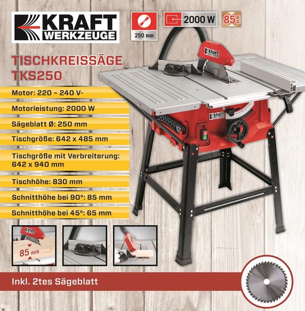 Kraft Werkzeuge Tischkreissäge TKS250 inkl. 2. Sägeblatt