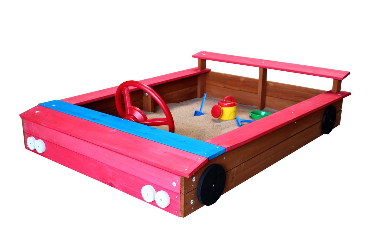 Bild 1 von Coemo Sandkasten rotes Auto aus Holz inkl. Abdeckplane
