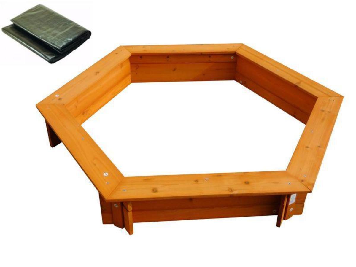 Bild 1 von Coemo 6-eckiger Sandkasten Holz Braun inkl Abdeckplane