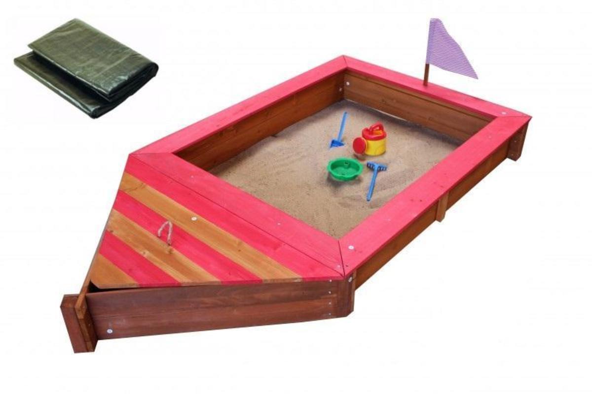Bild 1 von Coemo Sandkasten Boot-Form Rot inkl Abdeckplane