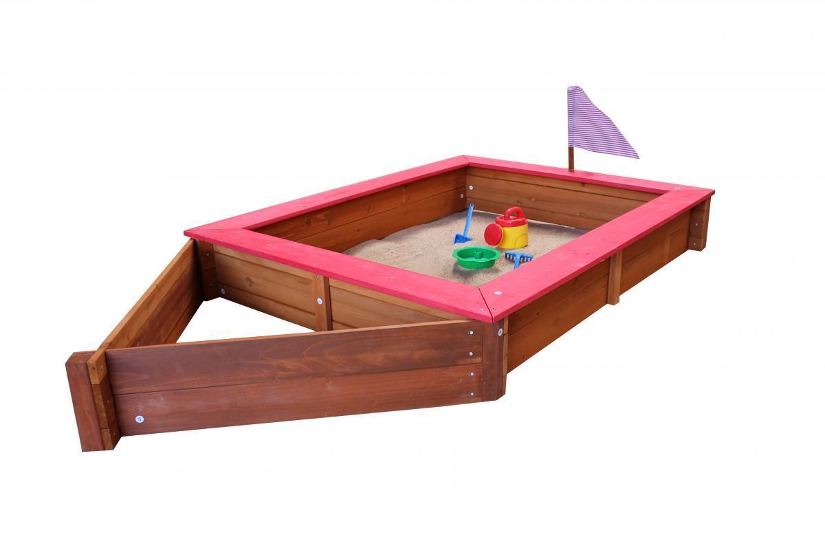 Bild 2 von Coemo Sandkasten Boot-Form Rot inkl Abdeckplane