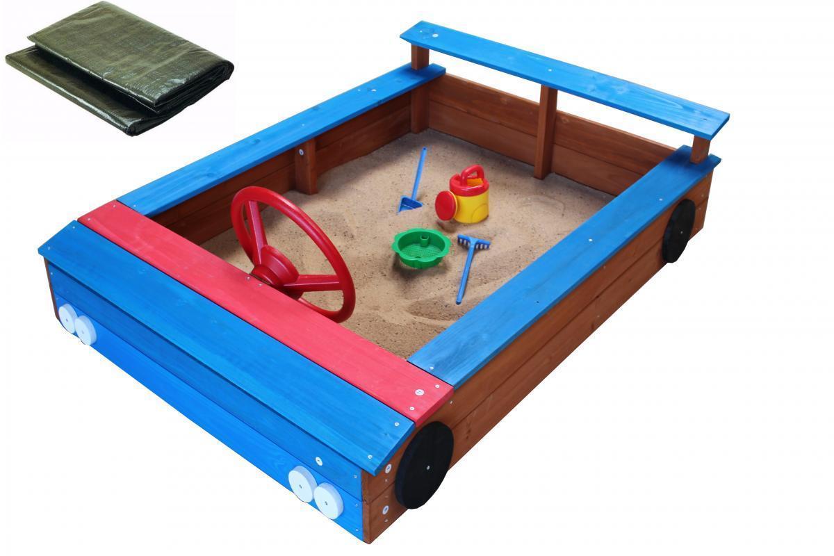 Bild 1 von Coemo Sandkasten blaues Auto aus Holz inkl. Abdeckplane