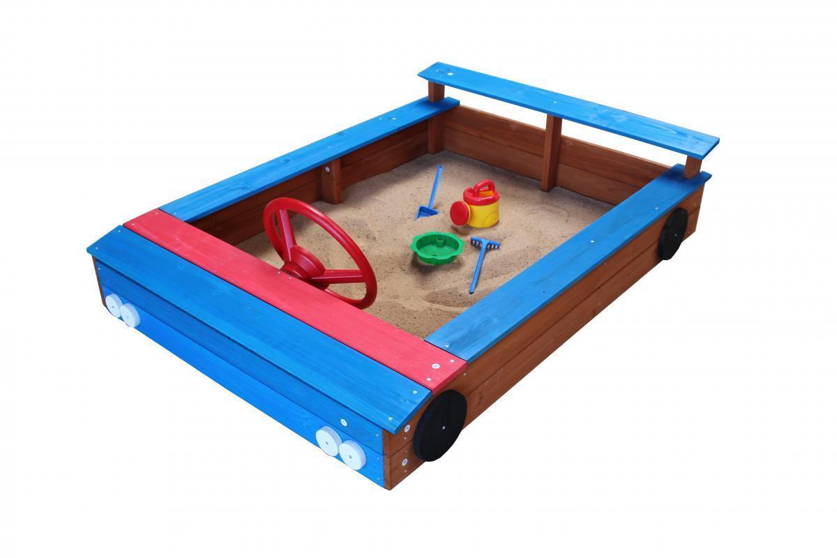 Bild 2 von Coemo Sandkasten blaues Auto aus Holz inkl. Abdeckplane