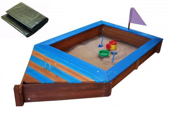 Coemo Sandkasten Boot-Form Blau inkl Abdeckplane