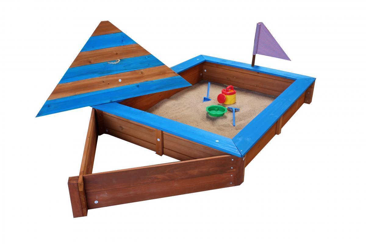 Bild 2 von Coemo Sandkasten Boot-Form Blau inkl Abdeckplane