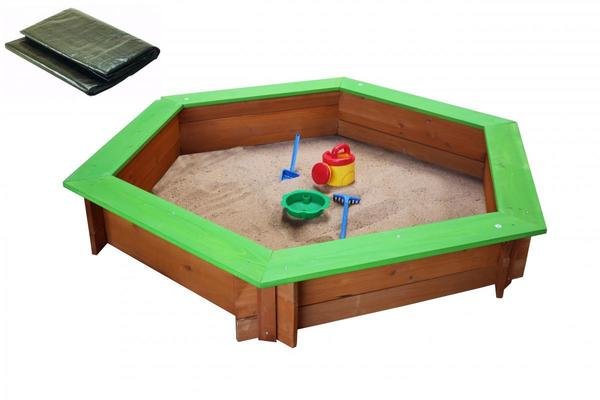 Coemo 6-eckiger Sandkasten Holz Grün inkl Abdeckplane