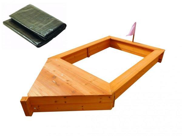 Coemo Sandkasten Boot-Form Braun inkl Abdeckplane
