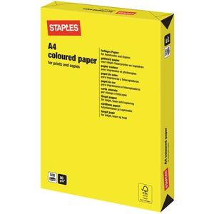 Staples Coloured Paper Farbige Papiere für Inkjet, Laser, Kopierer und Fax A4 80 g/m² Strahlend Gelb 500 Blatt