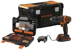 BLACK & DECKER Akku-Schlagbohrschrauber 18V 2-Gang, mit 104-teilig Zubehör + Koffer