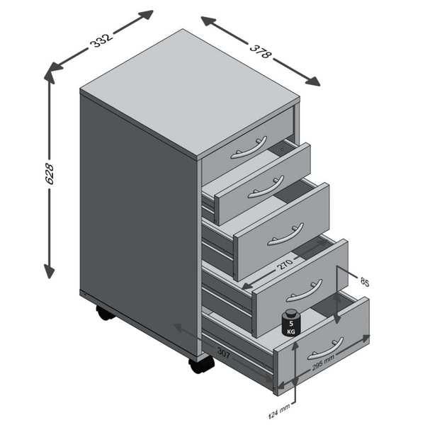 14105d9d2f3ac1 FMD Möbel FREDDY Beistellcontainer mit 2 kleinen und 3 großen SK ...