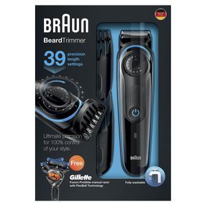Braun Bartschneider BT3040 mit Gillette Fusion ProGlide Rasierer schwarz/blau