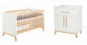 Schardt - 3er Spar-Set Kinderbett, Wickelkommode und Umbauseite - Venice - Farbe: weiß/Buche