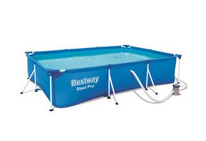 Bestway Steel Pro 3.00m x 2.01m x 66cm, Blau, Gerahmter Pool, Rechteckig, 3300 l, Blau, 59 cm, 1060 l/h