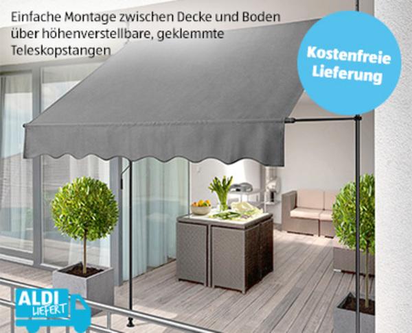 balkon klemmmarkise von aldi s d f r 59 99 ansehen. Black Bedroom Furniture Sets. Home Design Ideas
