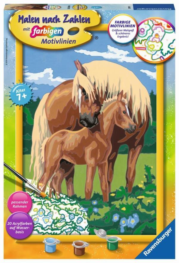 ravensburger malen nach zahlen liebevolle pferde von