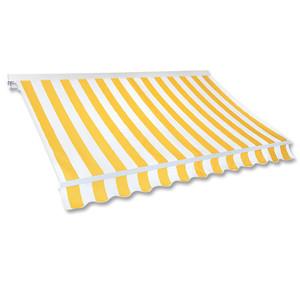 Kassetten-Markise 4,0 x 2,5 m gelb-weiß (Profilfarbe: Weiß)