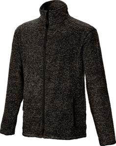 Herren Strickfleece Jacke in Schwarz meliert, L