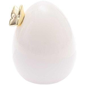 Porzellan-Ei mit Schmetterling weiß-gold 9,5cm