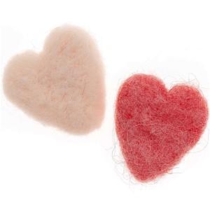Herz Filz rosa-pink 5cm 2 Stück
