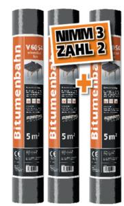 Bitumen-Schweißbahn V 60 S4 - 3 für 2 Aktion ,  talkumiert, 1 x 5 m