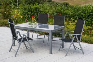 Merxx Tischgruppe Amalfi, 5-tlg schwarz, Tisch 140/200 x 90 cm