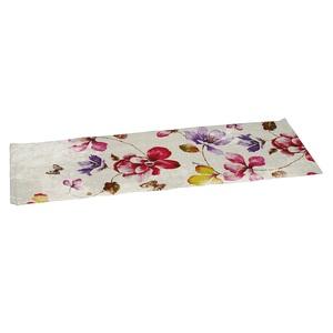 GO-DE Tischdecke / Tischläufer 140 x 40 TREND HIGH TEA Weiß mit Blumenmuster