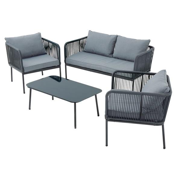 Outdoor Gartenmobel Set Talea 4 Teilig Aluminium Grau
