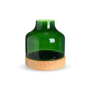 Windlichtglas, 2-teilig, D:17cm x H:20cm, grün