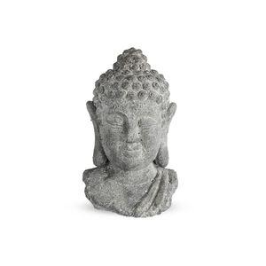 Dekofigur Buddhakopf, L:16 x B:14 x H:24cm, grau