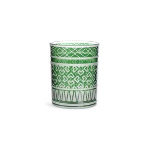 Windlicht Glas Zickzack, D:10cm x H:12cm, grün