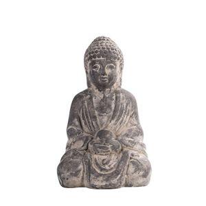 Dekofigur Buddha, 16x11x27cm, grau